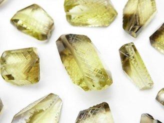 天然石卸 粒売り!宝石質レモン×スモーキークォーツAAA 彫刻入りタンブルカット 4粒3,680円!