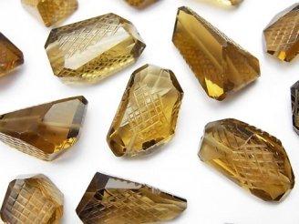 天然石卸 粒売り!宝石質ブランデークォーツAAA 彫刻入りタンブルカット 3粒2,780円!