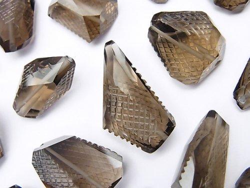 【動画】【粒売り】宝石質スモーキクォーツAAA 彫刻入りタンブルカット 3粒