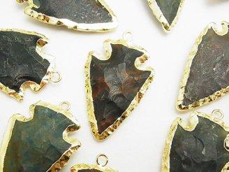 天然石卸 1個780円!ブラッドストーン ラフロック アローズヘッドシェイプ チャーム ゴールドカラー 1個