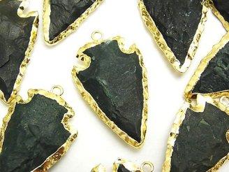 天然石卸 1個680円!グリーンジャスパー ラフロック アローズヘッドシェイプ チャーム ゴールドカラー 1個