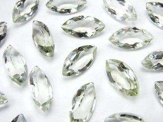 天然石卸 宝石質グリーンアメジストAAA 穴なしマーキスファセットカット16×8mm 5粒1,180円!