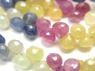 天然石卸 宝石質マルチカラーサファイアAA++ オニオン ブリオレットカット 半連/1連(約18cm)
