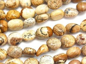 天然石卸 1連780円!ピクチャージャスパー タンブル 1連(約38cm)