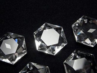 天然石卸 素晴らしい輝き!天然クリスタルAAA 穴あき六芒星カット23×20×8mm 裏面カット入り 1個