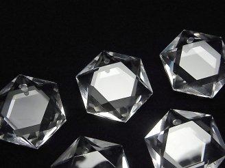 天然石卸 素晴らしい輝き!天然クリスタルAAA 穴あき六芒星カット23×20×7mm 1個1,380円!