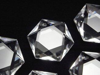 天然石卸 素晴らしい輝き!天然クリスタルAAA 穴あき六芒星カット28×25×9mm 1個1,980円!