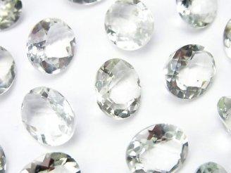 天然石卸 宝石質グリーンアメジストAAA 穴なしオーバルファセットカット12×10mm 6粒1,580円!