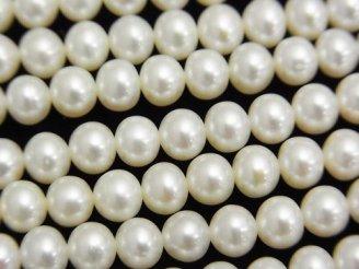 天然石卸 1連2,980円!淡水真珠AAA セミラウンド〜ポテト5.5〜6mm ホワイト 1連(約38cm)