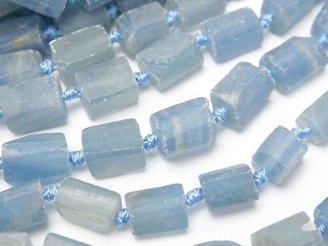 天然石卸 天然ブルーカルサイトAA++ ラフタンブルカット 半連/1連(約40cm)
