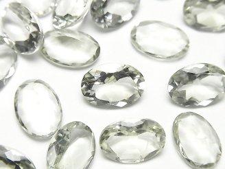 天然石卸 宝石質グリーンアメジストAAA 穴なしオーバルファセットカット14×10mm 5粒1,780円!