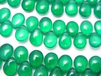 天然石卸 宝石質グリーンオニキスAAA ペアシェイプ(プレーン) 半連/1連(約18cm)
