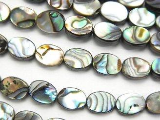天然石卸 1連980円!アバロンシェル(鮑) オーバル8×6×2.5mm 1連(約38cm)