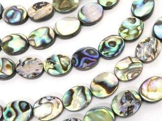天然石卸 アバロンシェル(鮑) オーバル10×8×3mm 半連/1連(約38cm)
