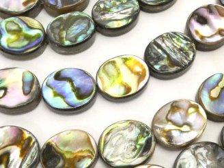 天然石卸 アバロンシェル(鮑) オーバル12×10×3mm 半連/1連(約38cm)