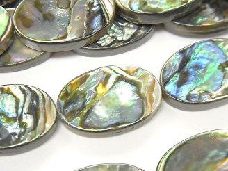 天然石卸 アバロンシェル(鮑) オーバル20×13×3mm 1/4連〜1連(約36cm)