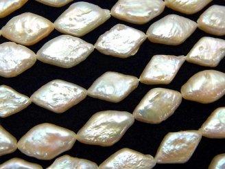 天然石卸 1連1,280円!淡水真珠AA++ ひし形◆ ライトオレンジ 1連(約38cm)