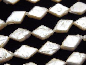 天然石卸 1連1,380円!淡水真珠AAA- ひし形◆ ホワイト 1連(約35cm)
