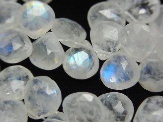 天然石卸 宝石質レインボームーンストーンAA+ マロンブリオレットカット 半連/1連(約22cm)