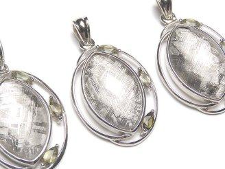 天然石卸 メテオライト(ギベオン隕石)&モルダバイト3石! ペンダントトップ 27×20×6mm SILVER925製