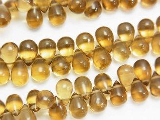 天然石卸 宝石質ビアクォーツAAA ドロップ(プレーン) 半連/1連(約18cm)