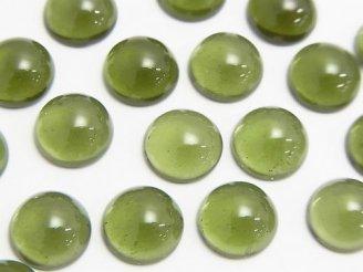 天然石卸 宝石質モルダバイトAAA ラウンド型カボション10×10×4mm 1個4,980円!