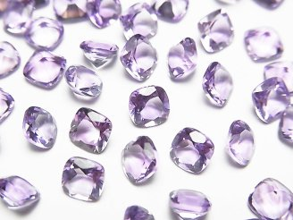 天然石卸 宝石質ピンクアメジストAAA 穴なしスクエアファセットカット5×5mm 20粒780円!