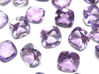 天然石卸 宝石質ピンクアメジストAAA 穴なしスクエアファセットカット8×8mm 5粒680円!