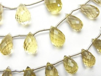 天然石卸 1連2,980円〜!宝石質レモンクォーツAAA ドロップ ブリオレットカット 1連(約17cm)