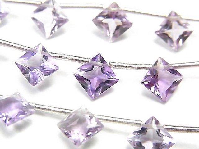 宝石質ピンクアメジストAAA ダイヤ プリンセスカット8×8mm 1連(8粒)