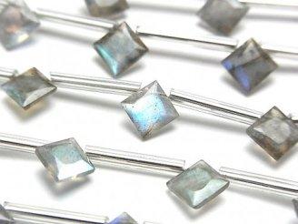 天然石卸 1連1,280円!宝石質ラブラドライトAA++ ダイヤ プリンセスカット8×8mm 1連(10粒)