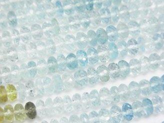 天然石卸 宝石質ベリルミックス(マルチカラーアクアマリン)AAA ボタンカット 半連/1連(約36cm)