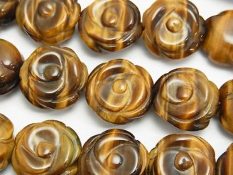 天然石卸 イエロータイガーアイAAA 薔薇彫刻18mm 半連/1連(約35cm)