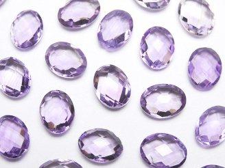 天然石卸 宝石質ライトカラーアメジストAAA 穴なしオーバルクッションカット8×6mm 7粒780円!