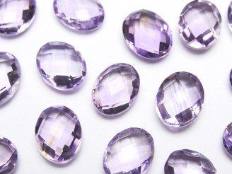 天然石卸 宝石質ライトカラーアメジストAAA 穴なしオーバルクッションカット9×7mm 5粒780円!