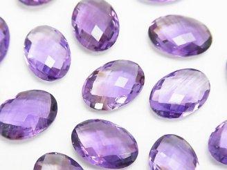 天然石卸 宝石質アメジストAAA 穴なしオーバルクッションカット14×10mm 4粒1,980円!