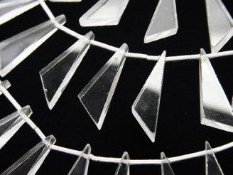 天然石卸 1連1,580円!宝石質クリスタルAAA- フラット トライアングル20×8×3mm 1連(8粒)