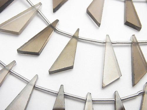 宝石質スモーキークォーツAAA フラット トライアングル20×7×3mm 1連(8粒)