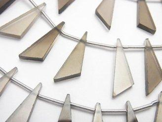 天然石卸 1連1,580円!宝石質スモーキークォーツAAA フラット トライアングル20×7×3mm 1連(10粒)