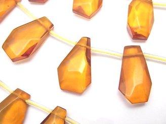 天然石卸 バルティックアンバー(琥珀) 横穴フラットタンブルカット 【Lサイズ】 1/4連〜1連(約38cm)
