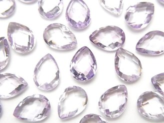 天然石卸 宝石質ピンクアメジストAAA 穴なしペアシェイプクッションカット10×7mm 5粒980円!