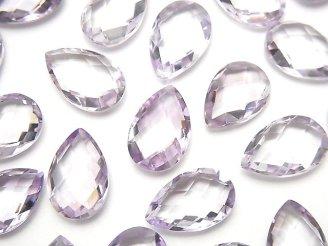天然石卸 宝石質ピンクアメジストAAA 穴なしペアシェイプクッションカット14×9mm 4粒1,480円!