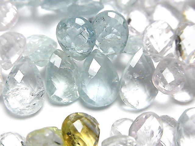 宝石質ベリルミックスAA++ ペアシェイプ ブリオレットカット サイズグラデーション 半連/1連(約18cm)