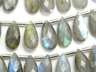 天然石卸 宝石質ラブラドライトAA++ ペアシェイプ ブリオレットカット15×7mm 半連/1連(15粒)