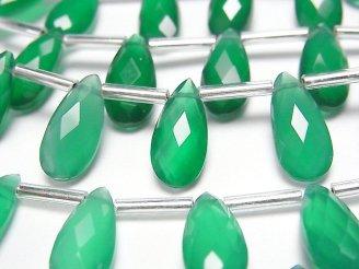 天然石卸 宝石質グリーンオニキスAAA ペアシェイプ ブリオレットカット15×7mm 半連/1連(13粒)