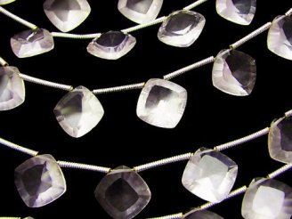 天然石卸 宝石質マダガスカル産ローズクォーツAAA- ダイヤ コンケーブカット 半連/1連(約16cm)