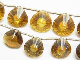 天然石卸 宝石質ビアクォーツAAA- マロン コンケーブカット 半連/1連(約18cm)