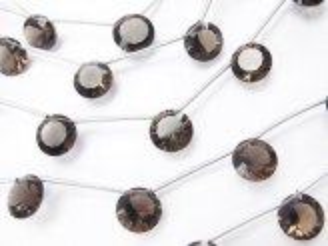 天然石卸 1連1,180円!宝石質スモーキークォーツAAA コイン コンケーブカット10×10mm 1連(5粒)