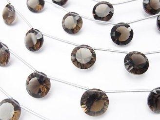 天然石卸 1連1,580円!宝石質スモーキークォーツAAA コイン コンケーブカット12×12mm 1連(4粒)