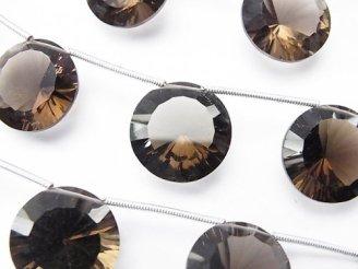 天然石卸 1連2,980円!宝石質スモーキークォーツAAA コイン コンケーブカット16×16mm 1連(5粒)